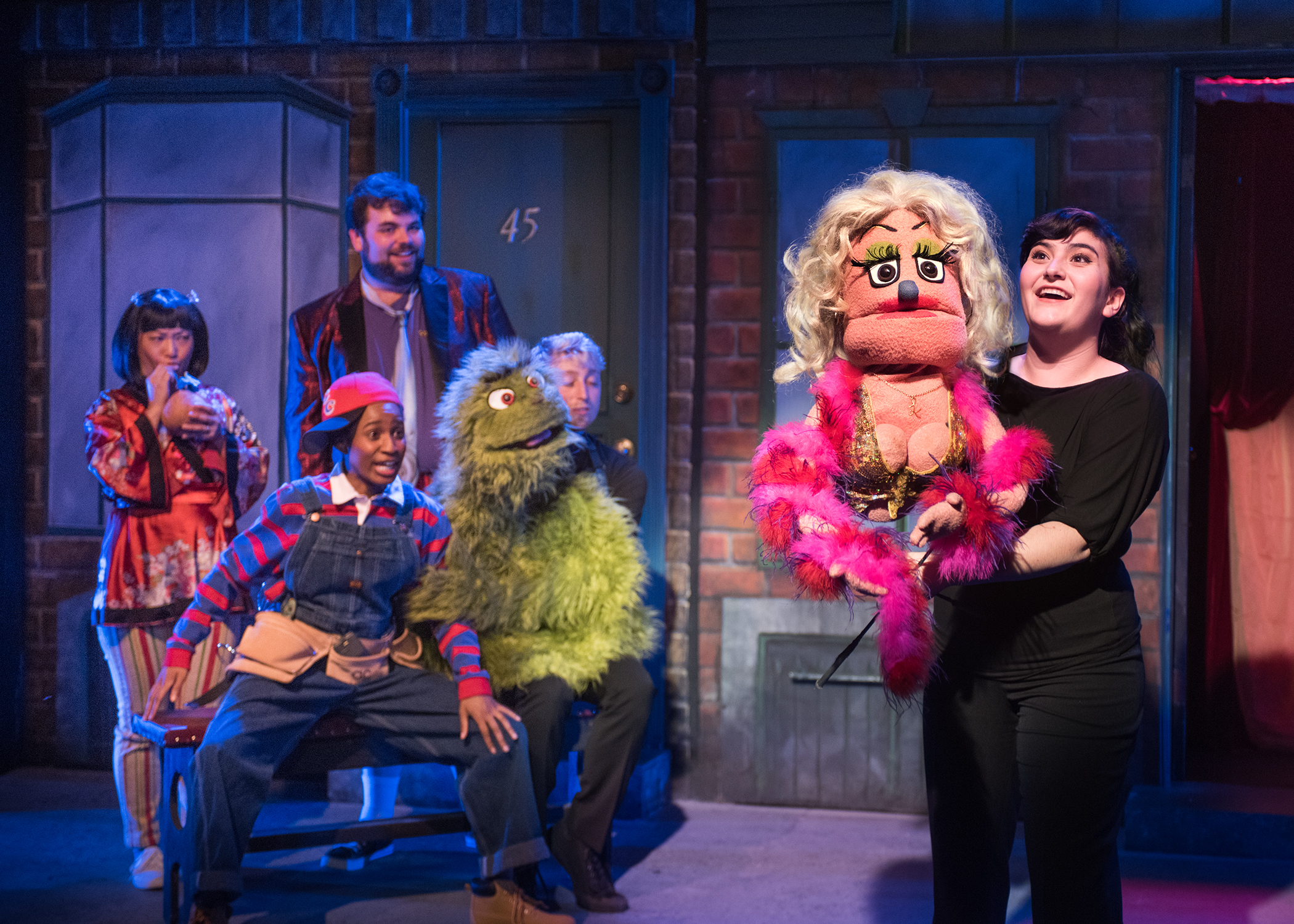 L to R: Christmas Eve (Isabel Anne To), Gary Coleman (Angel Adedokun, Brian (Ted Zoldan), and Trekkie Monster (Jake Gale) watch Lucy the Slut's (Maya Michal Sherer) 'special' performance. Photo by Lois Tema.