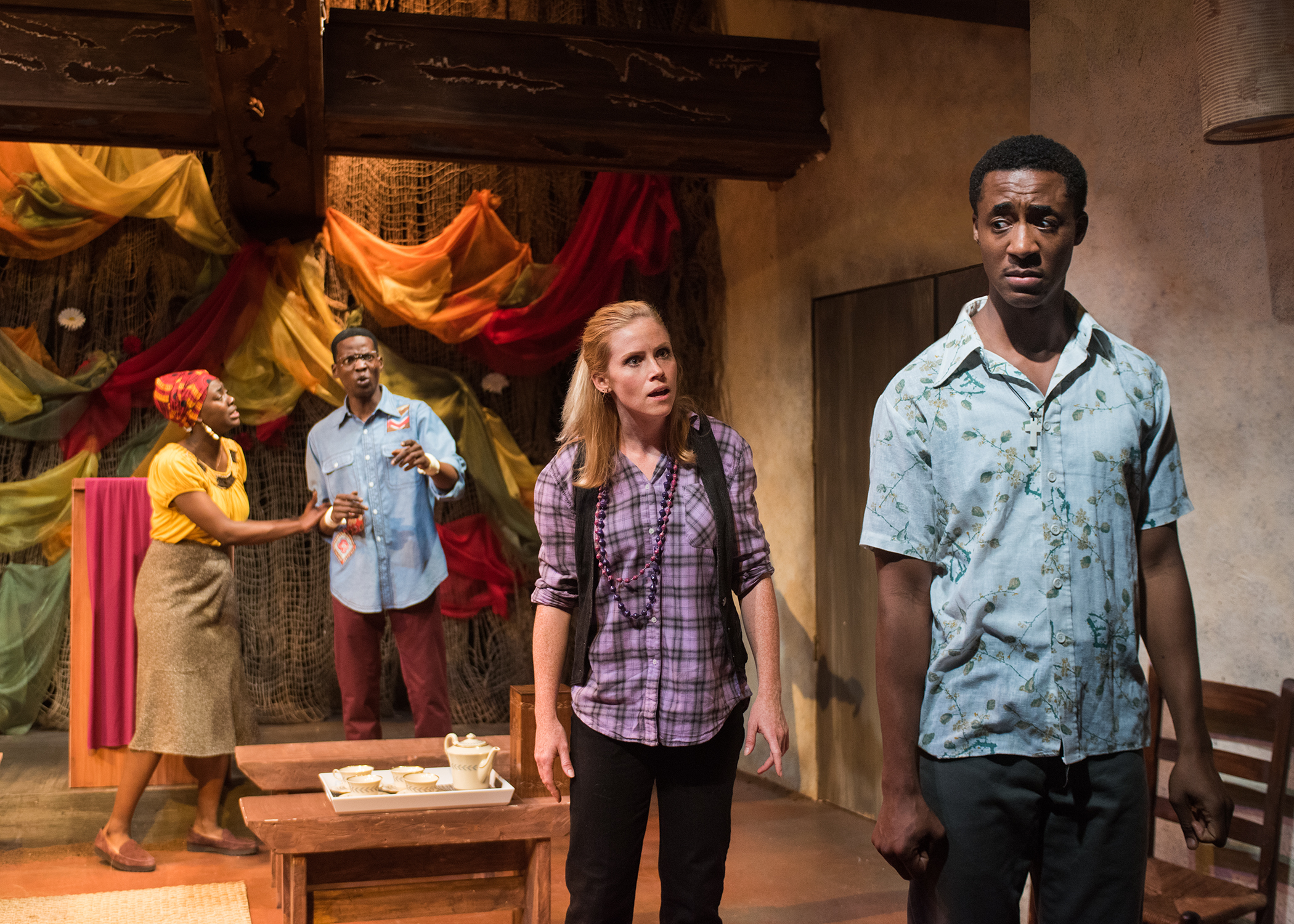 Ruth (Gabriella Momah) and Francis (Howard Johnson) try to make sense of the situation as Chris (Megan Timpane) confronts Paul (Dane  Troy*). Photo by Lois Tema.  *Appears through the courtesy of Actors' Equity Association, the Union of Professional Actors and Stage Managers in the United States.