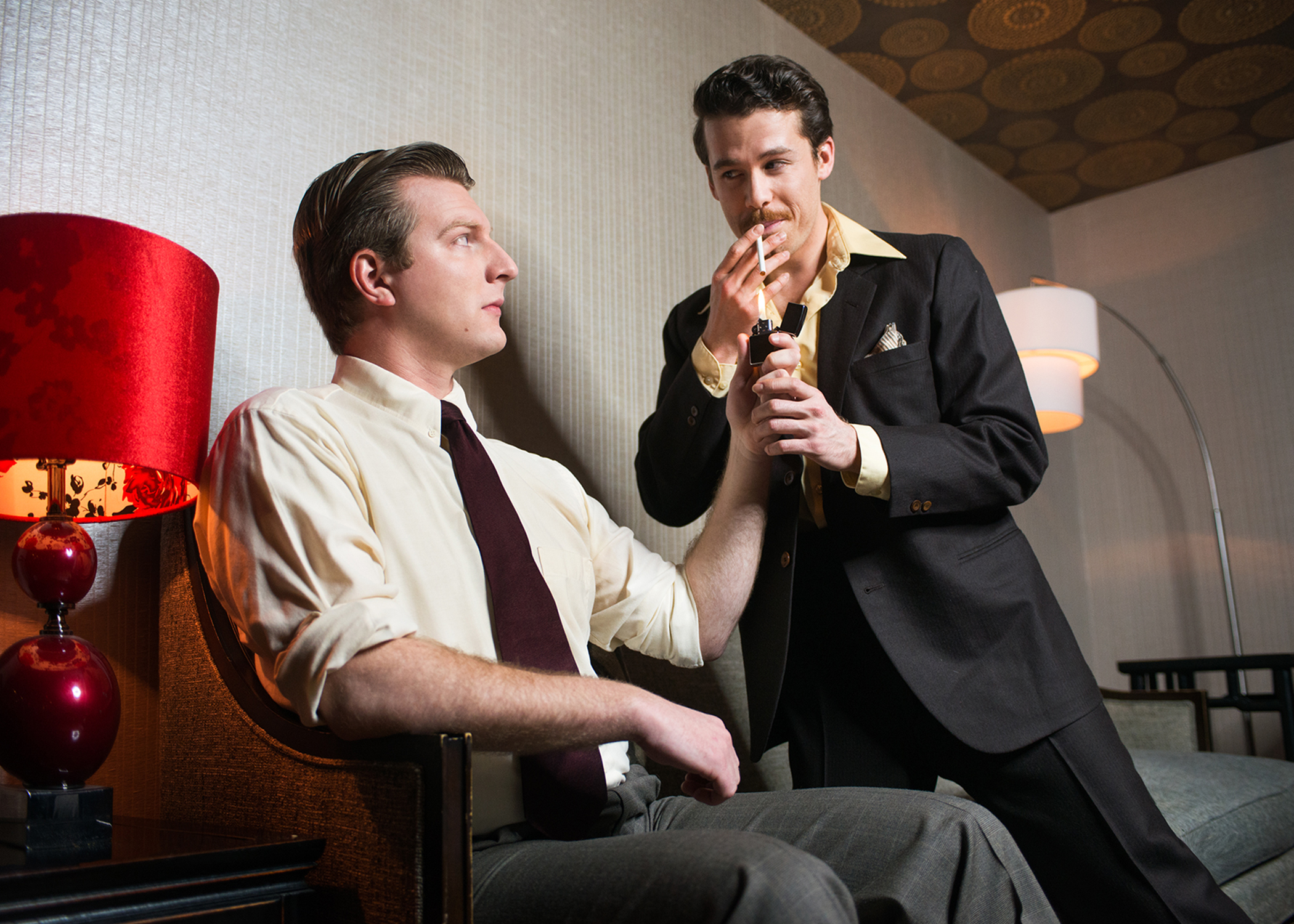 L to R: William Inge (Adam Niemann) finds himself drawn to Tennessee Williams (Brennan Pickman-Thoon). Photo by Lois Tema.