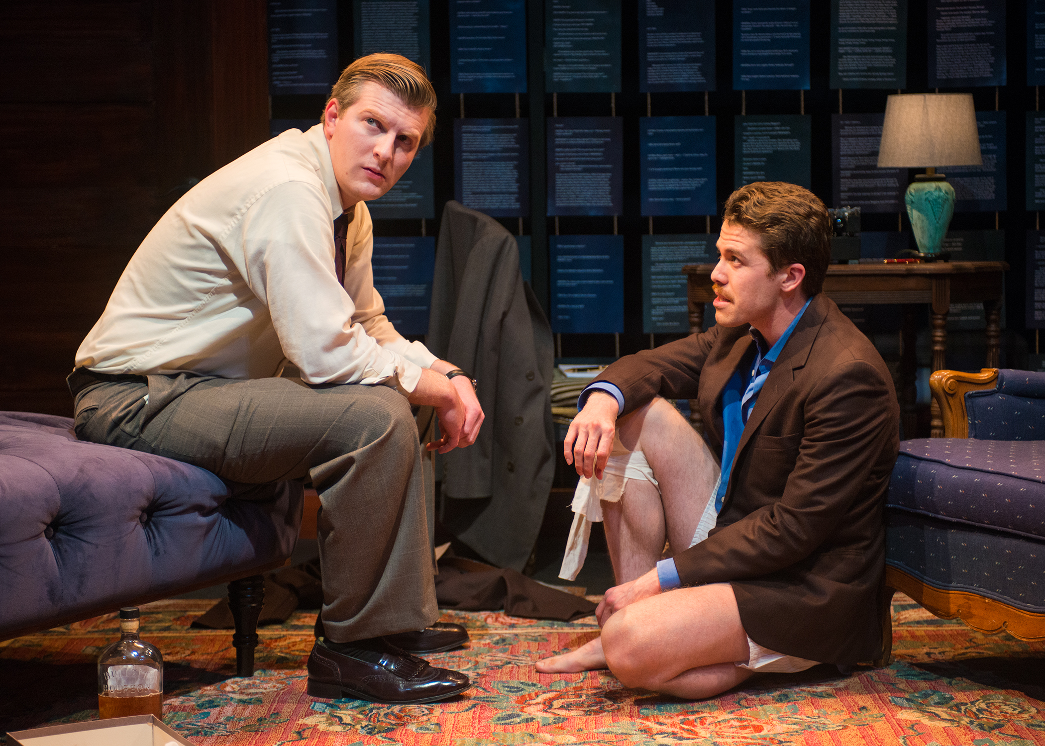 Pictured L to R- William Inge (Adam Niemann) tends to Tennessee Williams'(Brennan Pickman-Thoon) wounds. Photo by Lois Tema.