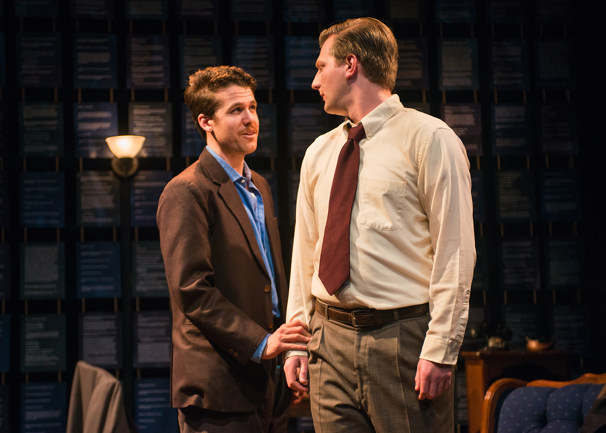Pictured L to R: Tennessee Williams (Brennan Pickman-Thoon) and William Inge (Adam Niemann) share a moment. Photo by Lois Tema.
