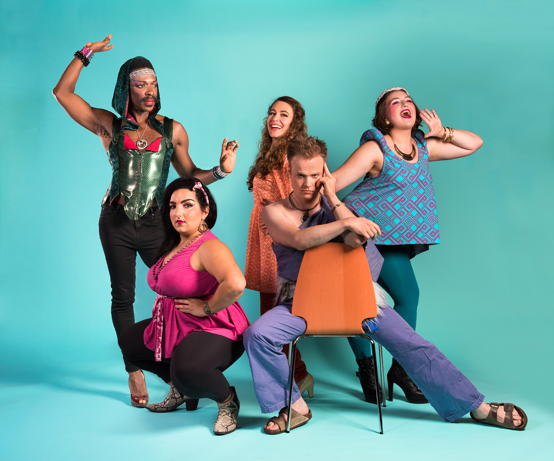 Pictured L to R: Rotimi Agbabiaka*, Danya El-Kurd, Kimberley Cohan, Scott Scholes, and Ella Ruth Francis. Photo by Lois Tema. *Appears through the courtesy of Actors' Equity Association, the Union of Professional Actors and Stage Managers in the United States.