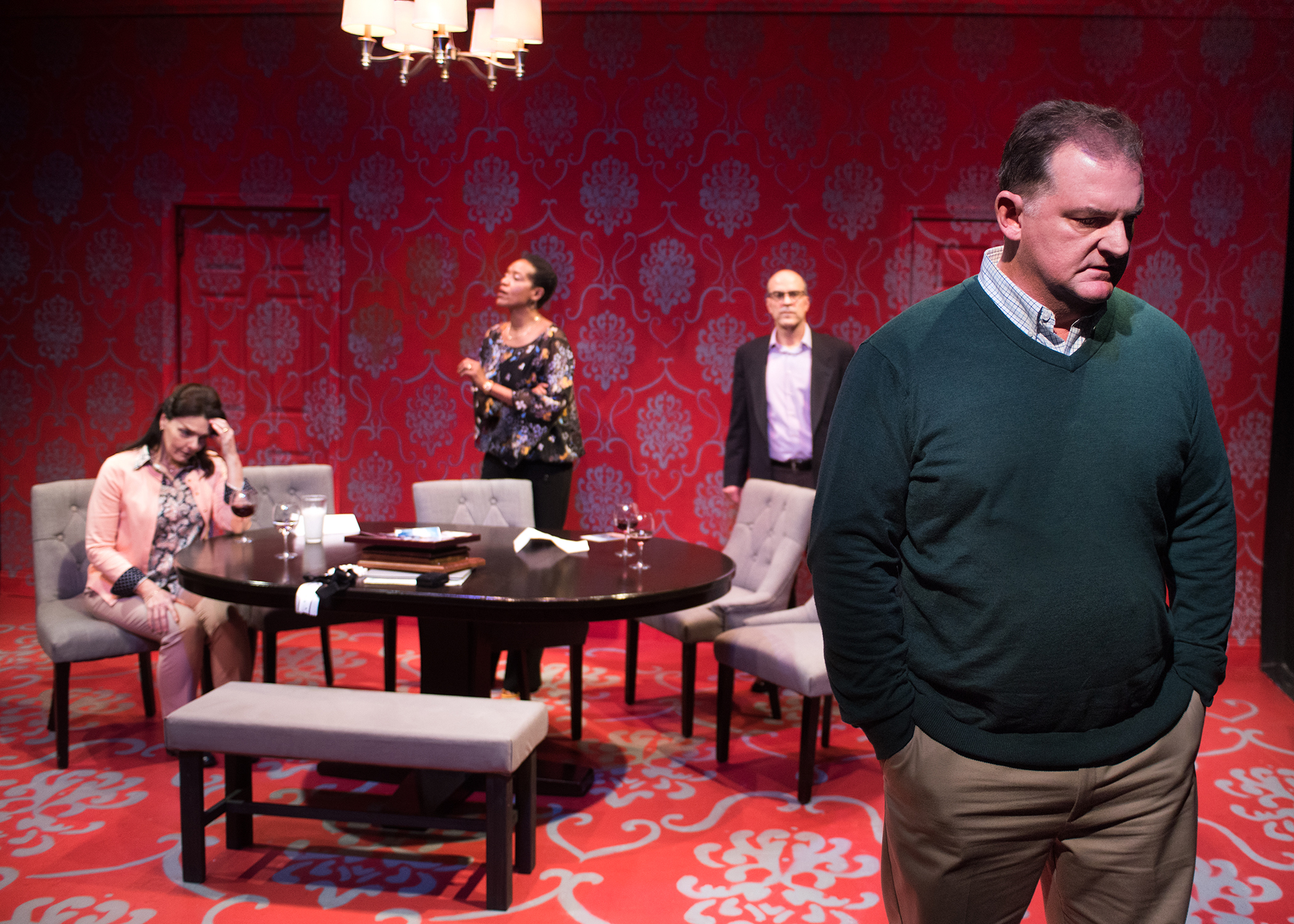 L to R: Tamara (Cheryl Smith), Debora (Desiree Rogers), and Michael (Lawrence Radecker) are shaken by Bill's (Kenneth Heaton) view on parenting. Photo by Lois Tema.