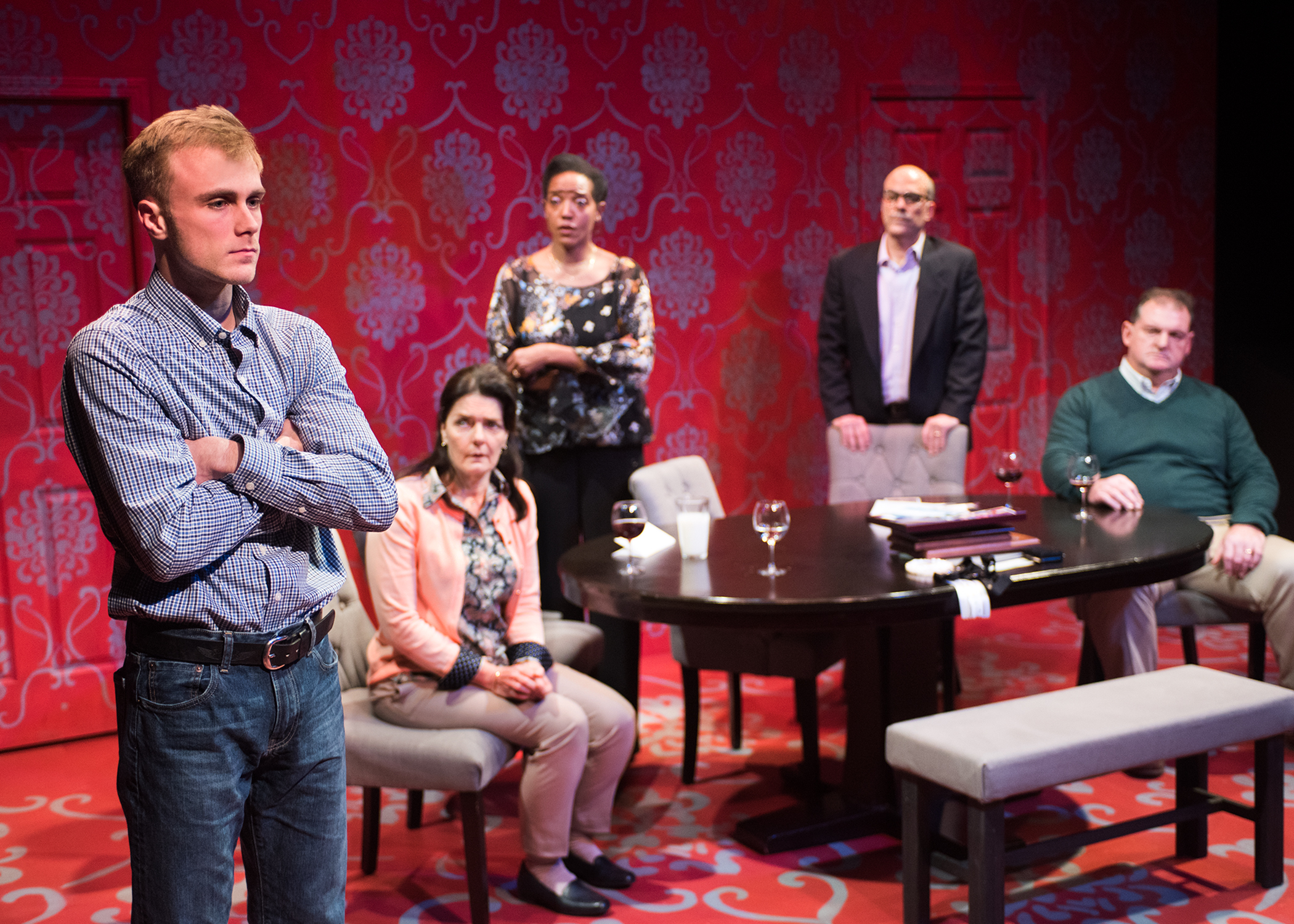 L to R: Curtis (Baela Tinsley) looks back on the tragedy that led him here as Tamara (Cheryl Smith), Debora (Desiree Rogers), Michael (Lawrence Radecker), and Bill (Kenneth Heaton) look on in shock. Photo by Lois Tema.