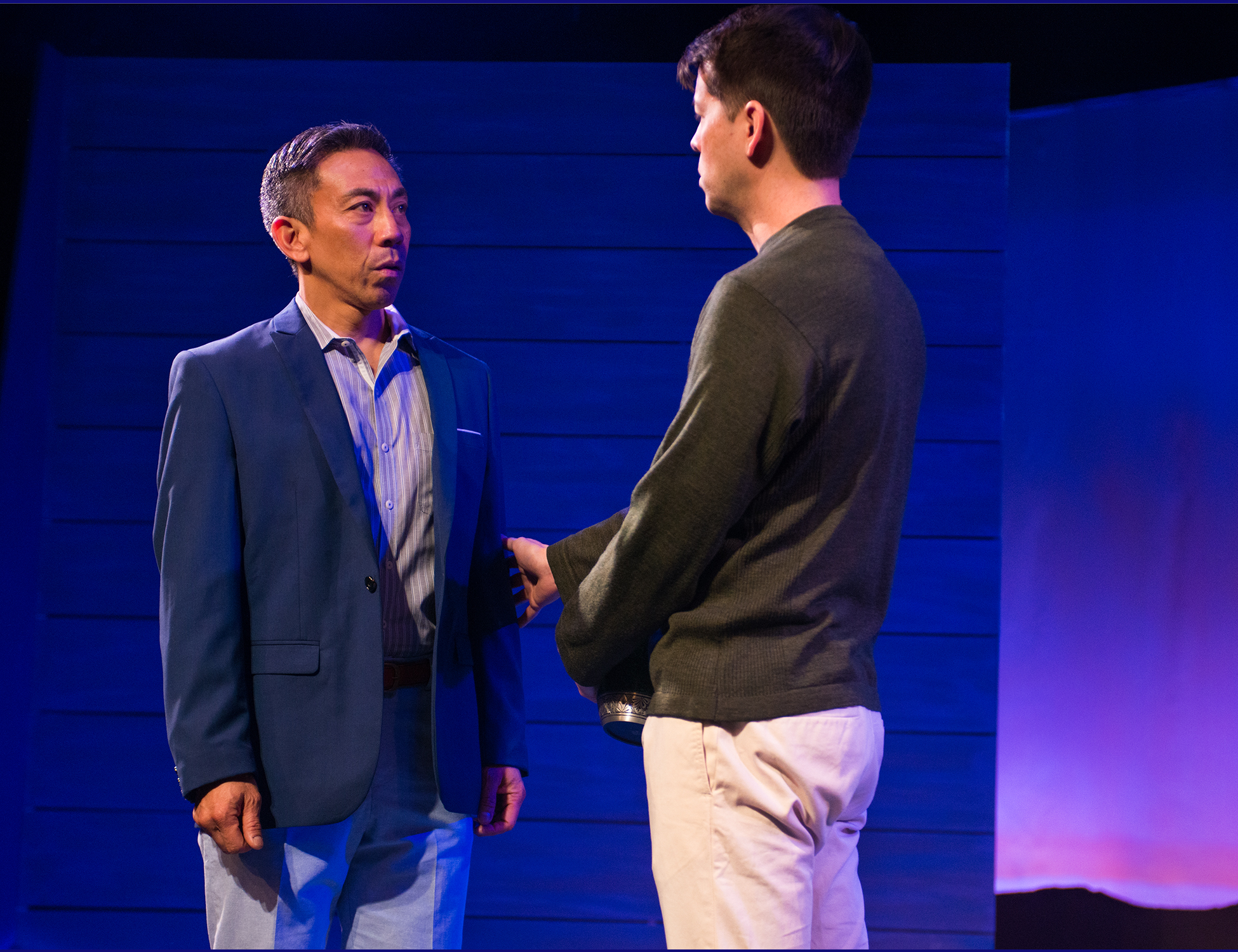 Pictured L to R Stephen (Joey Alvarado) and Steve (Greg Ayers) try to figure out their relationship. Photo by Lois Tema.