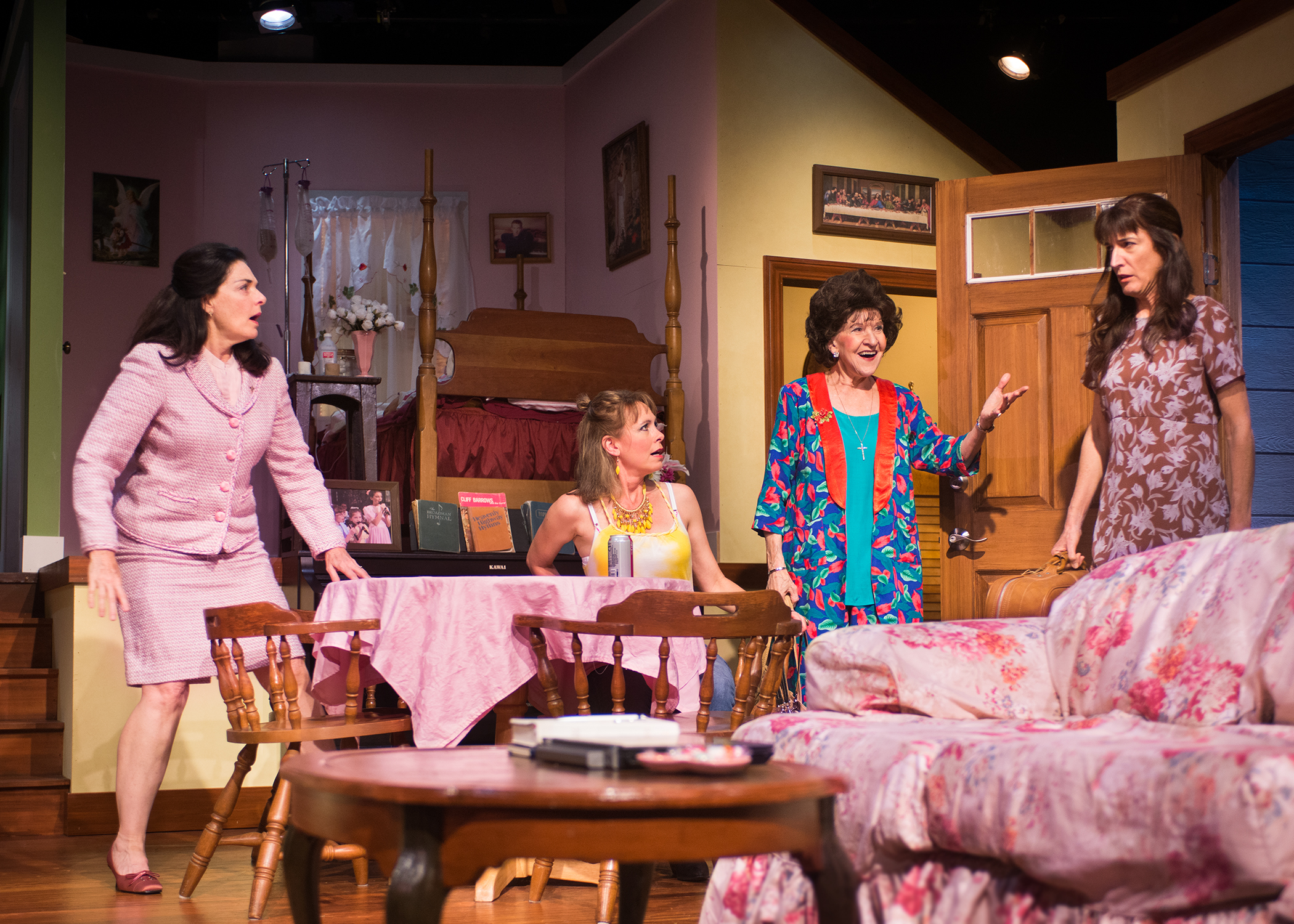 Pictured L to R: Rachel (Cheryl Smith) and Bethany (Amy Meyers) are shocked when their mother Ditty (Christine Macomber) brings home their sister Abigail (Alison Whismore). Photo by Lois Tema.