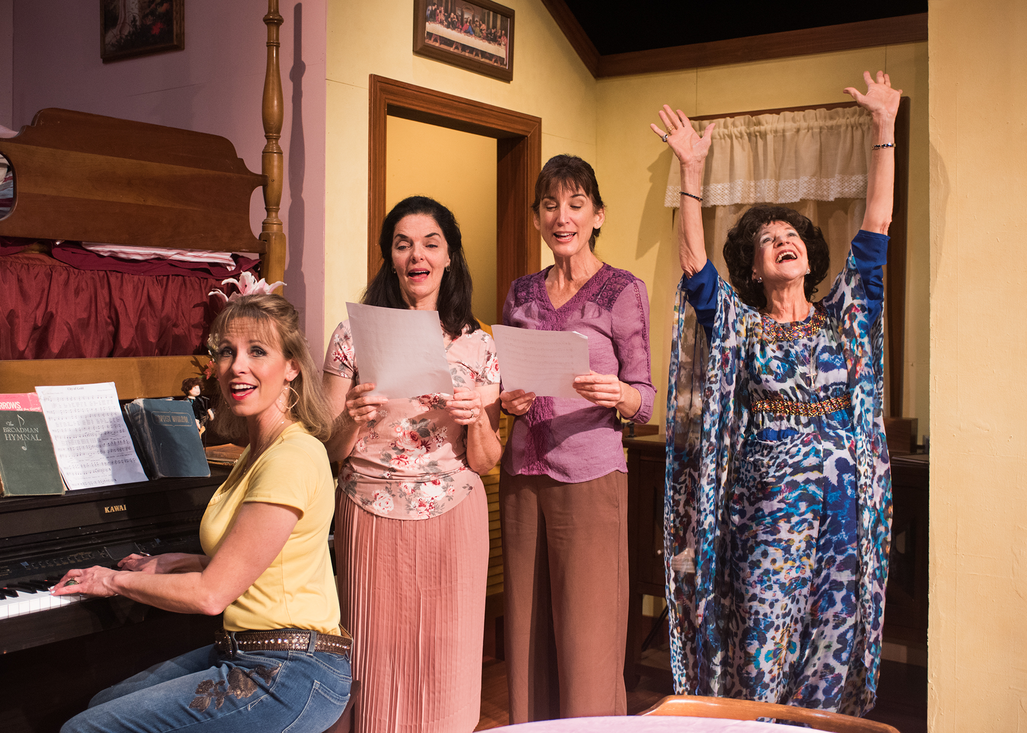 Pictured L to R: The Blaylock sisters (Amy Meyers,Cheryl Smith, Alison Whismore)rehearse with their mother Ditty (Christine Macomber). Photo by Lois Tema.