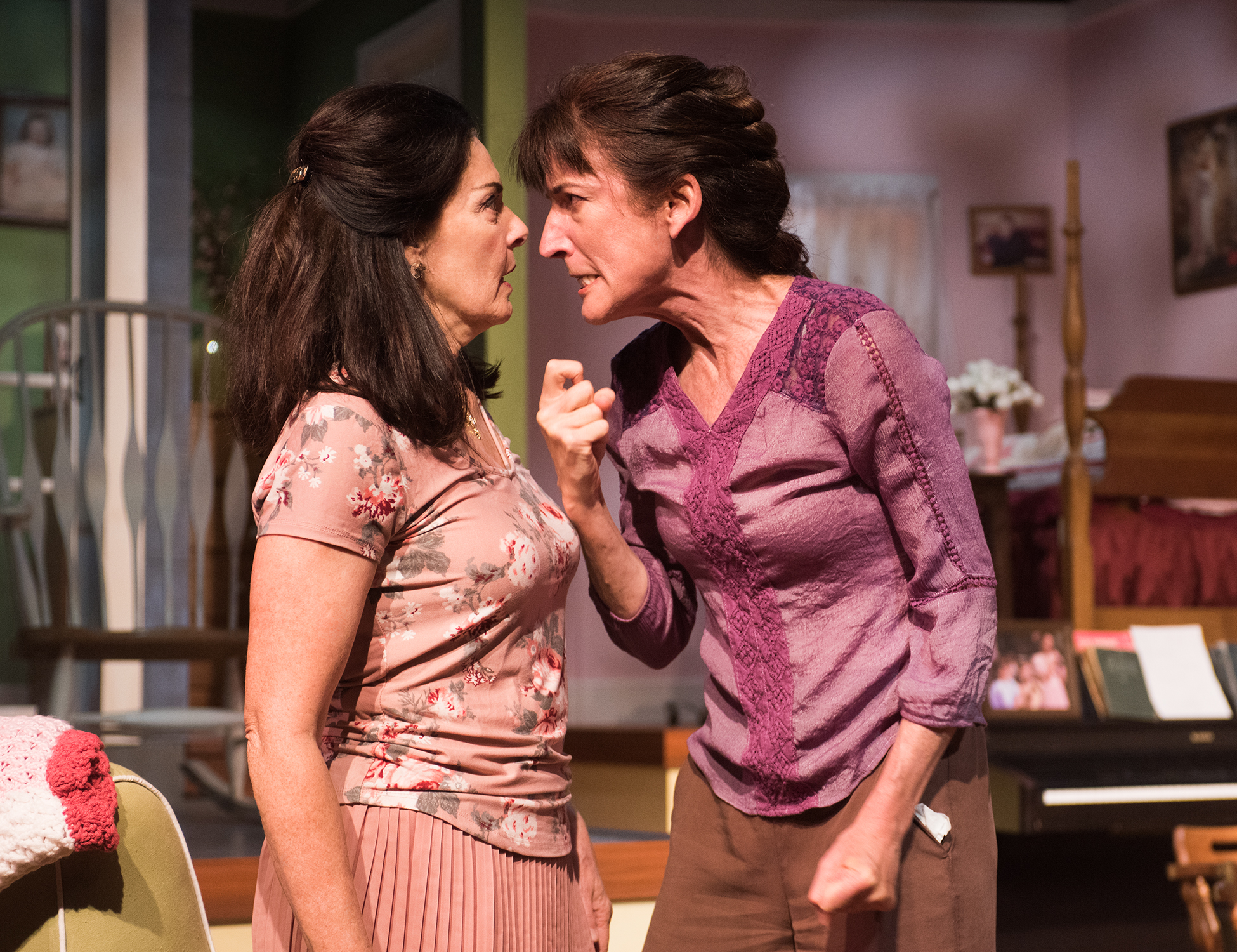 Pictured L to R: Sisters Rachel (Cheryl Smith)and Abigail (Alison Whismore) confront each other over their pasts. Photo by Lois Tema.