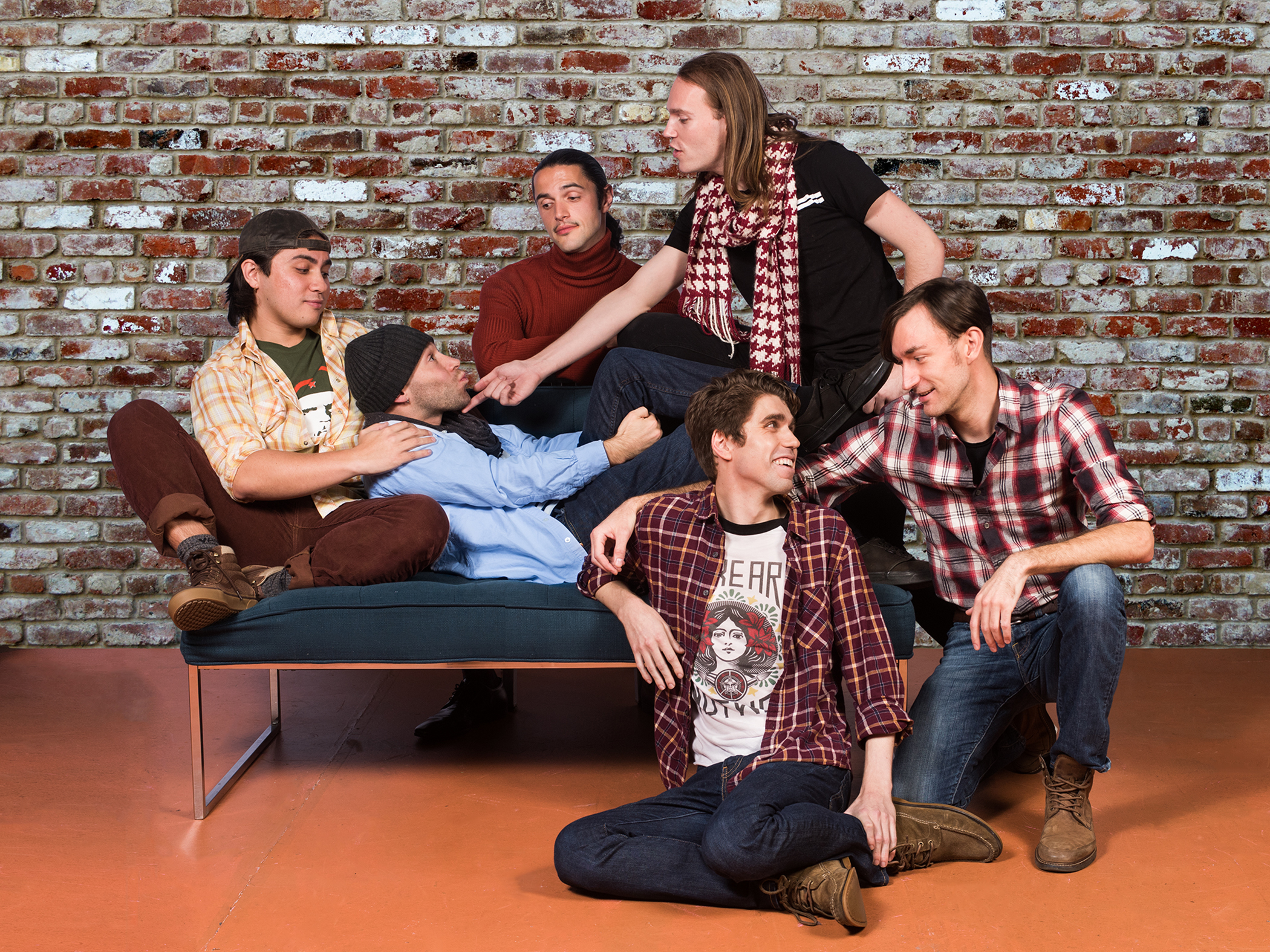 Pictured L to R: Smitty (Sal Mattos), Dev (Devon Marra), Marcos (Vaho), J (Chris Steele), Cory (Max Seijas) and Marty (Robert Kittler) are having a kiki that's going to change everything. Photo by Lois Tema.