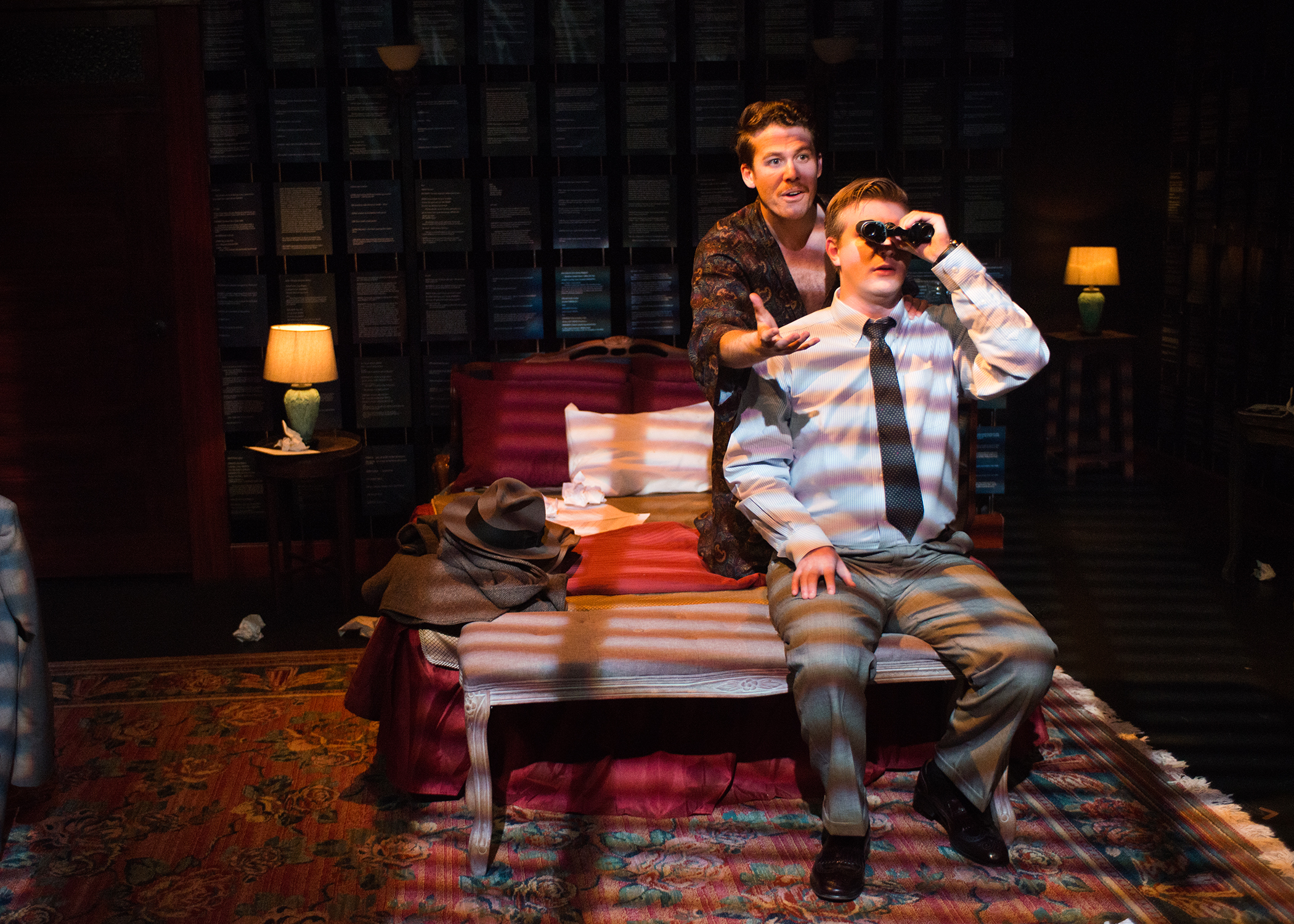 Picture L to R: Tennessee Williams (Brennan Pickman-Thoon) and William Inge (Adam Niemann) spy on the neighbors. Photo by Lois Tema.